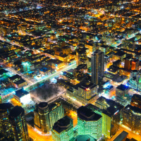 Toronto Downtown (Spadina Ave.) at night as seen from CN Tower
