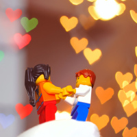 Lego couple with hearts shape Bokeh