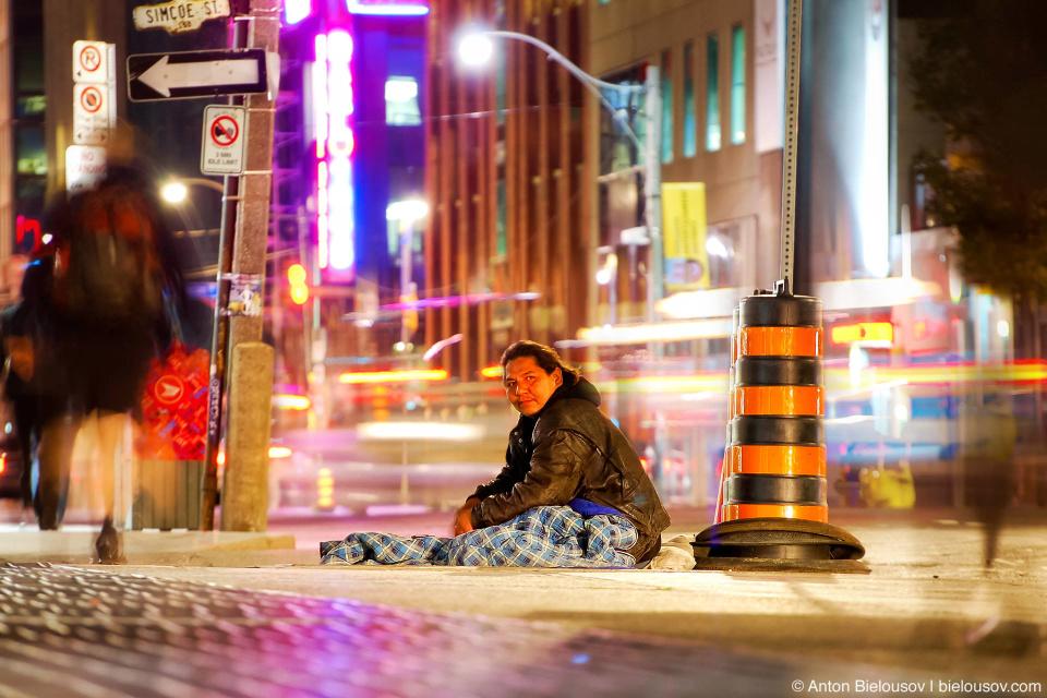 Toronto Homeless Native American Guy. Long Exposure on Wellington St.