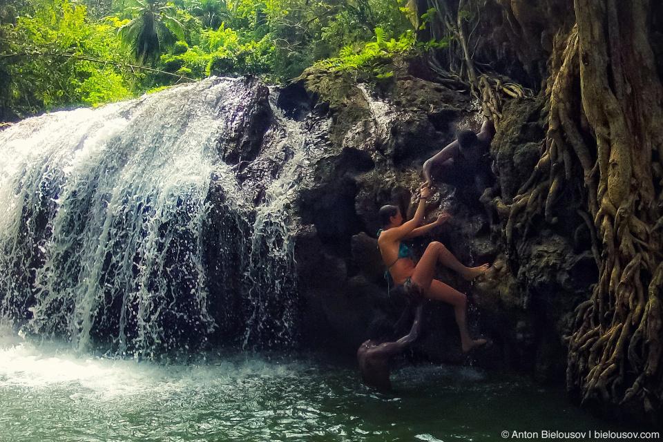 Black box theatre on waterfall in Samaná, Dominican Republic