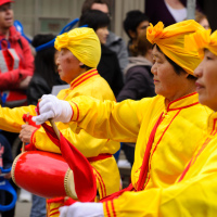 hinese band at Easter parade in Toronto