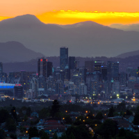 Панорама Ванкувере на закате