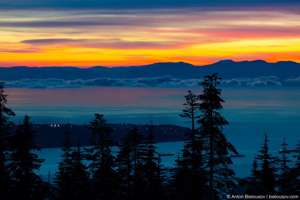 Закат над островом Ванкувер