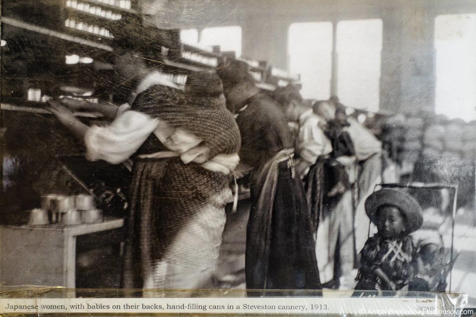 Архивное фото: Японские женщины с детьми на спинах вручную заготавливают консервы на консервном заводе в Стивстоне, 1913