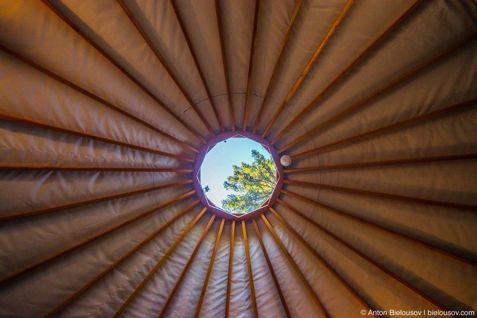 Потолок в юрте в кемпинге Вистлера