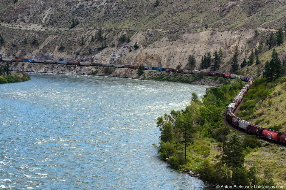 Железная дорога вдоль реки Томпсон (Ashcroft, BC)