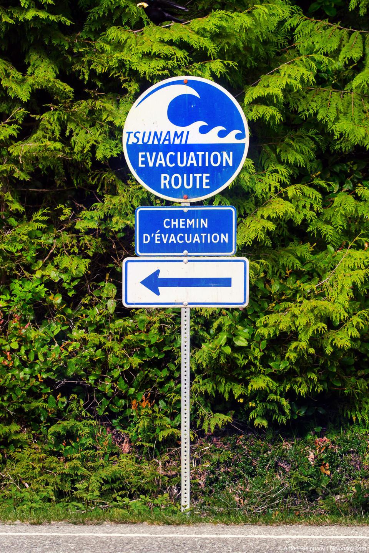 Tsunami Evacuation Route sign at Pacific Rim National Park
