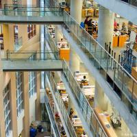 На 5-ти этажах центральной части здания — стеллажи и читальные залы по темам, на 6-м — специальные коллекции.