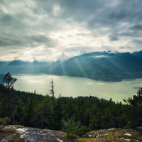 Howe Sound view from Upper Shannon Falls trail top