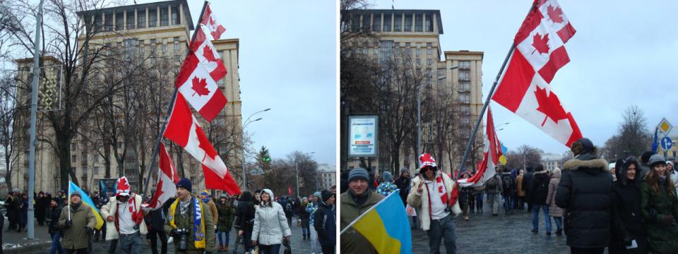В декабре 2013 на Евромайдан в Киев прибыли более трехсот украинцев из Канады.