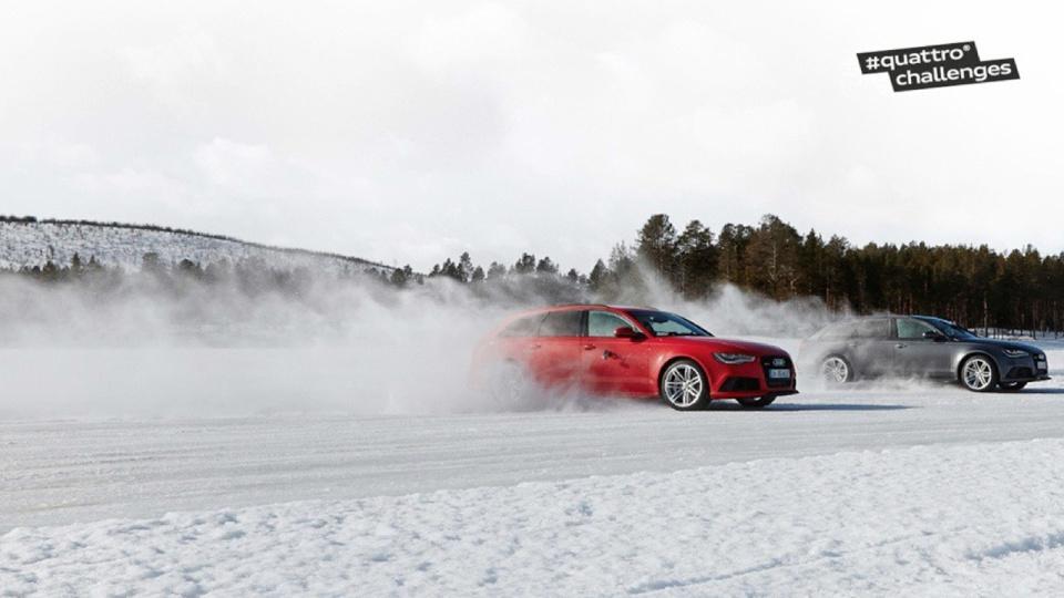 Две Аudi RS 6 Avant quattro® (4,0-Liter-V8-TFSI-Aggregat; 560 PS) использованы в испытании на ледяной трассе. Трасса на озере Arvidsjaursjö в Швеции, спроектированная Яном Эдвардссоном, имеет 10 поворотов при длине 1,4 км и ширине 10м.