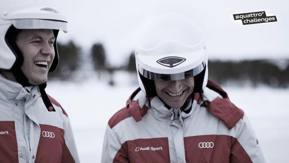 Двукратные чемпионы серии DTM — Матиас Экстром и Тимо Шайдер в гонках Audi #quattrochallenge на замерзжем озере в Швеции