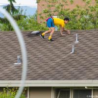 Прямо вот настолько непросто, что доставать мяч с крыши пришли парковые рейнджеры. Но без метел они ничем не смогли помочь.