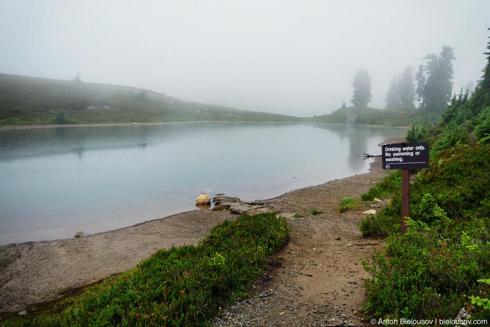 Elfin Lakes drinking water sign