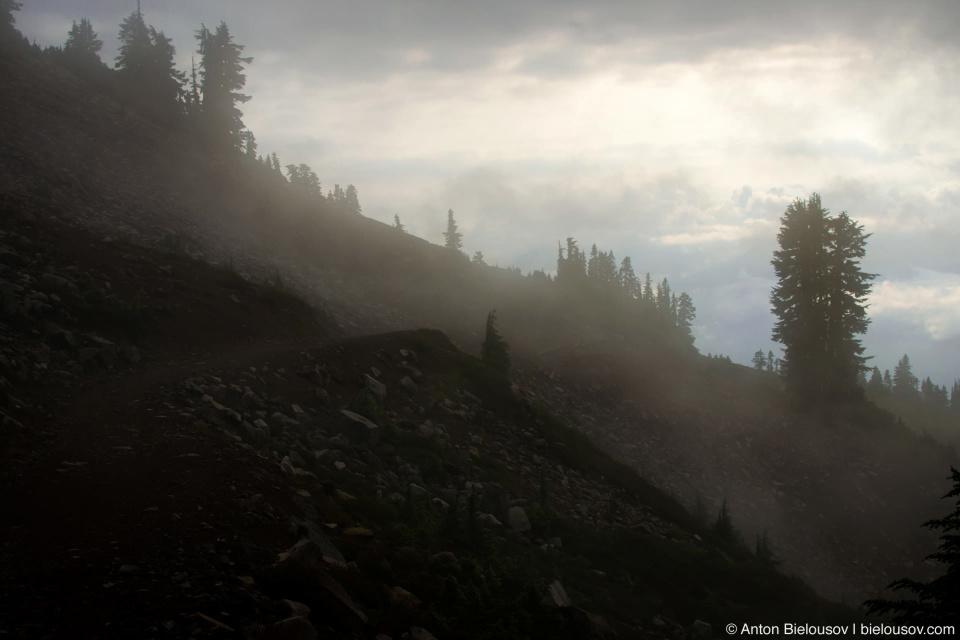 Тропа огибает пик потухшего вулкана — Круглой горы (Round Mountain, 1,646 м), проходит через пару обвалов.