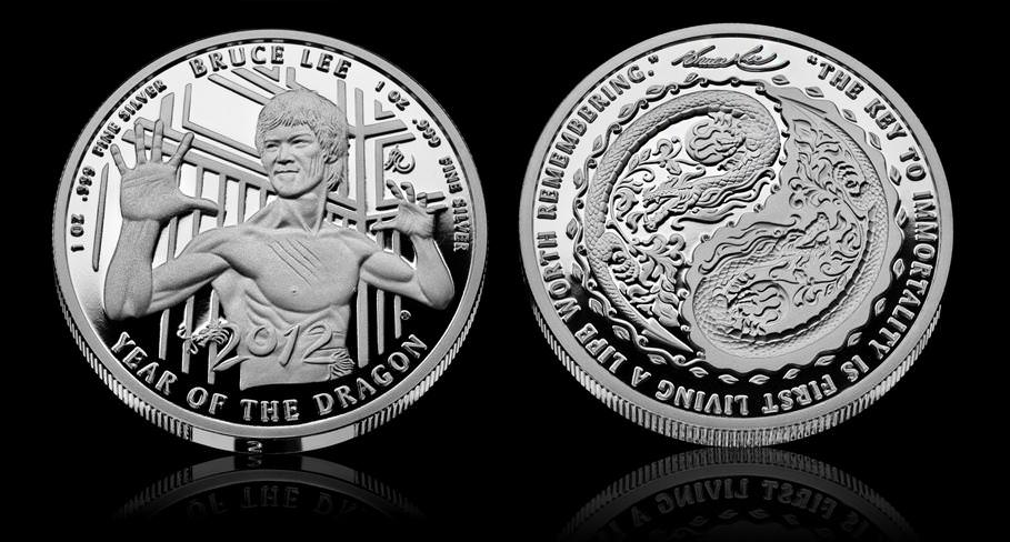 Bruce Lee silver coin