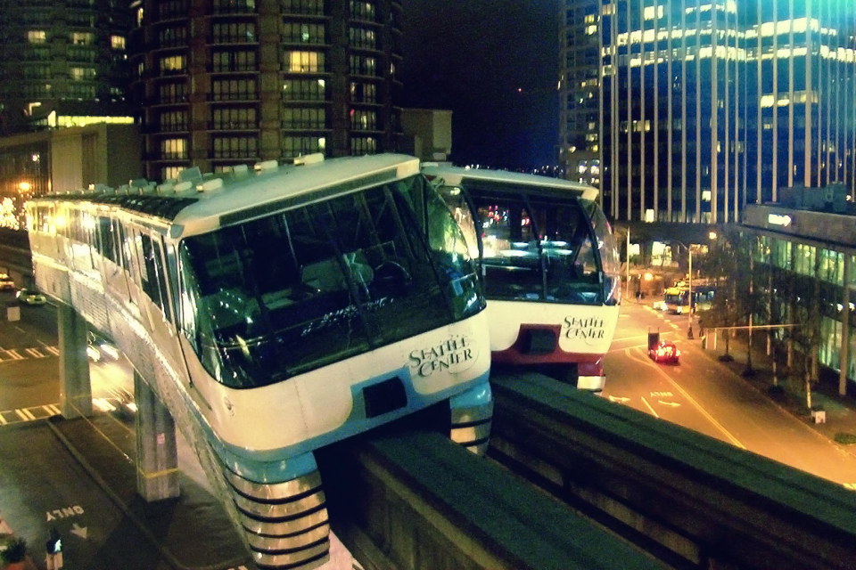 Aftermath of the 2005 Seattle Center Monorail collision, the train on the right was approaching the station, and should have yielded