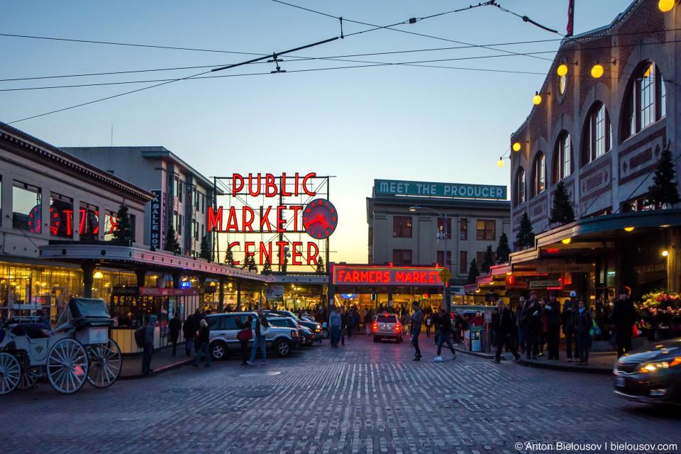Pike PLace Market —Самый старый фермерский рынок в США, беспрерывно работающий с 1907 года (Seattle, WA)