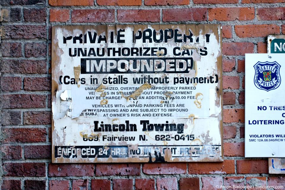 Private property parking warning (Pike Place Market — Seattle, WA)