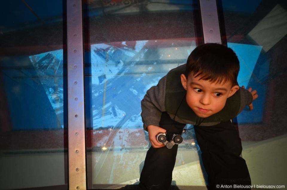 Scared Anton JR on CN Tower Glass Floor