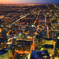 Toronto North view from CN Tower on sunset