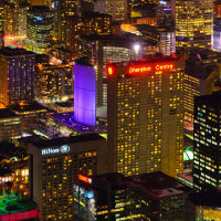 Toronto City Hall at night as seen from CN Tower