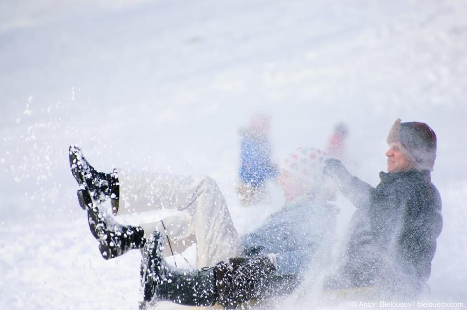 Family fun in winter High Park, Toronto