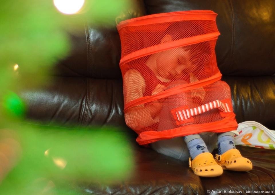 Kid sleeps in toys box