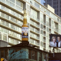 Corona beer bottle ad