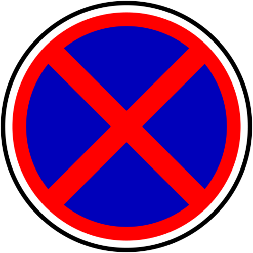 European stopping and parking prohibited road sign