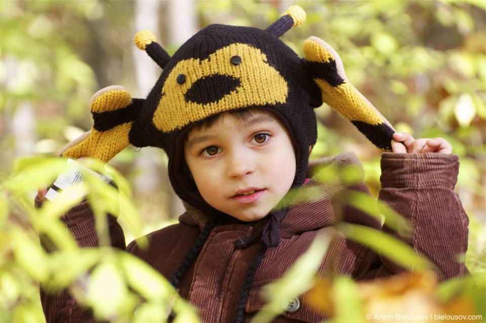 Антон младший в пчелиной шапке