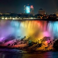 Niagara Falls at night, view from Canada