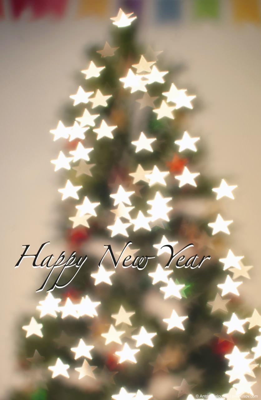 New Year Tree with stars shape bokeh