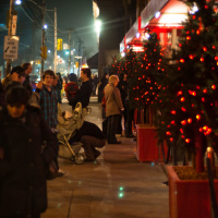 First christmas decorations in the fog on Toronto streets
