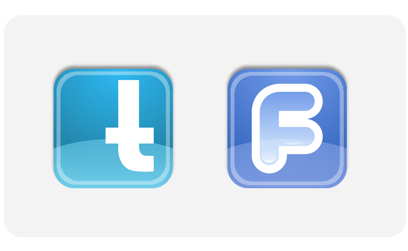 Twitter and Facebook Logo Swing