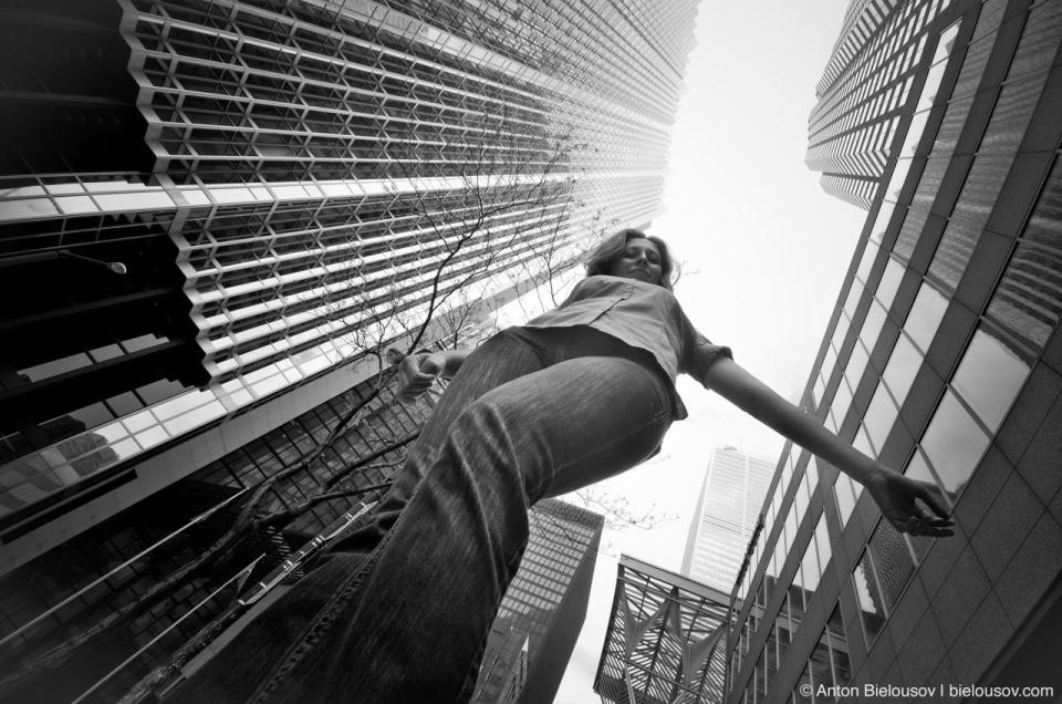 Viki Walking in Toronto Downtown Financial Core