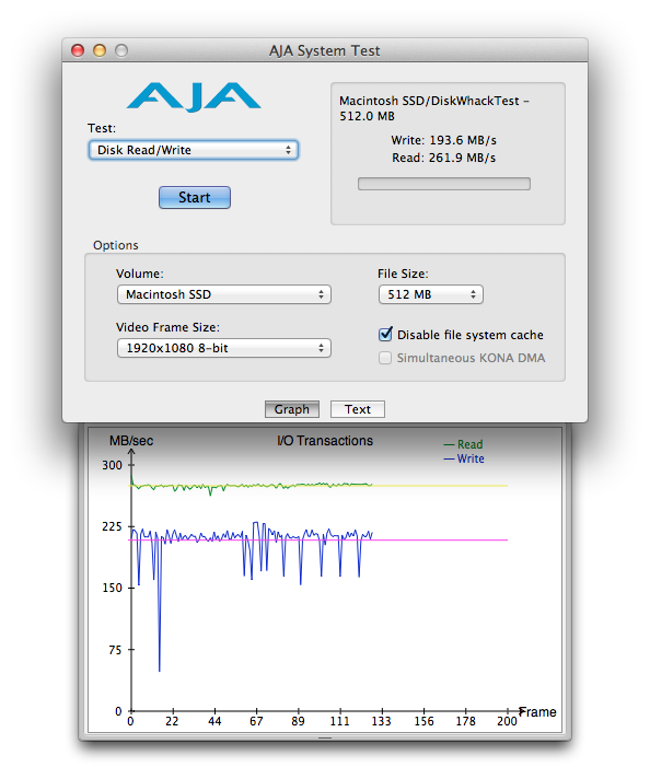 """OWC Mercury Extreme Pro SSD 240GB SSD read/write speed test on 2.53GHz Core 2 Duo Mid 2009 15"""" MacBook Pro: (write: 193.6 MB/s, read: 261.9 MB/s)"""