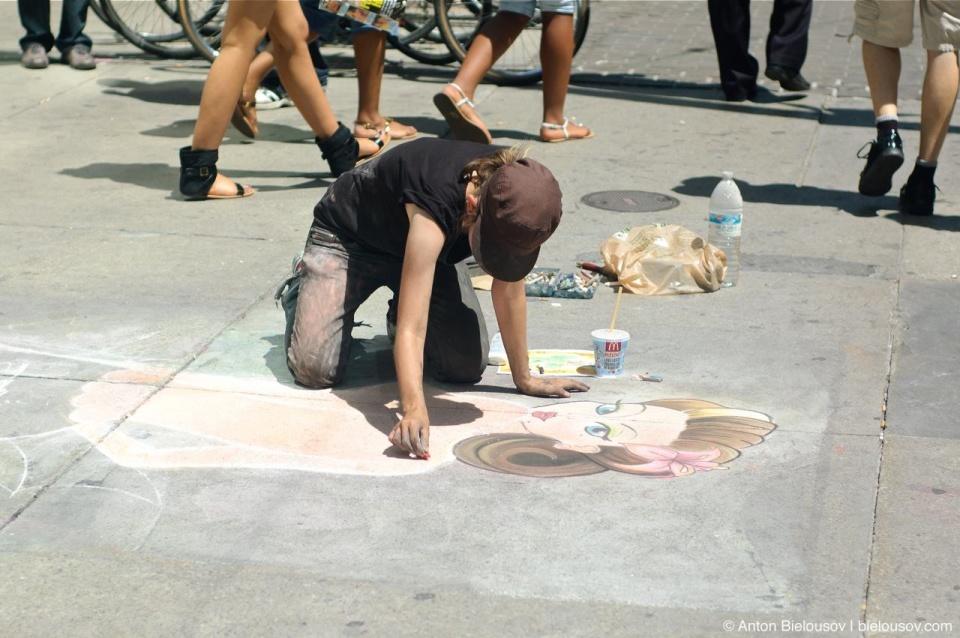 Chalk Drawing near Toronto Eaton's Centre