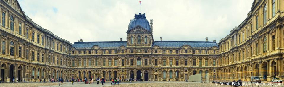 Louvre yard panorama
