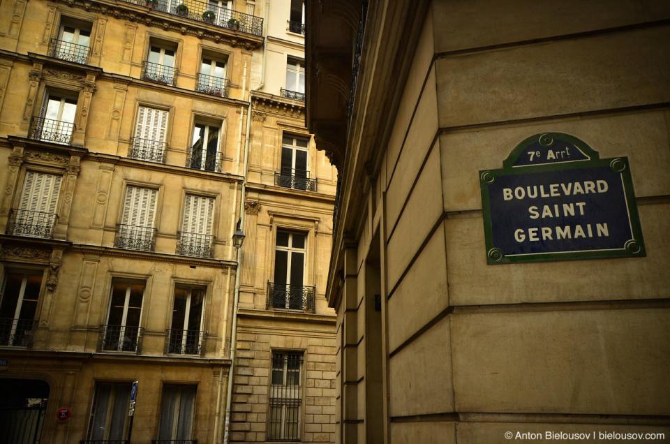 Paris, Boulevard Saint Germain Street Sighn