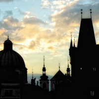 Prague Roofs silhouettes from Charles Bridge in the morning