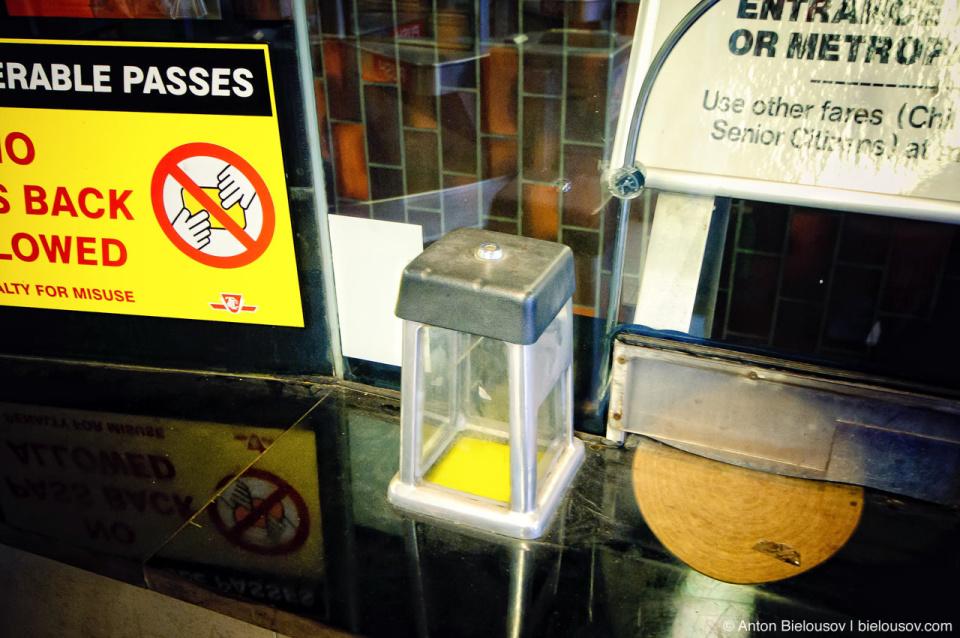 Баночка для жетонов в TTC, Toronto