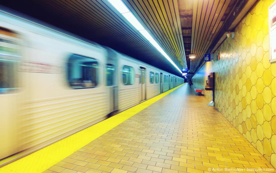 Toronto TTC Subway Train Arriving On Spadina Station