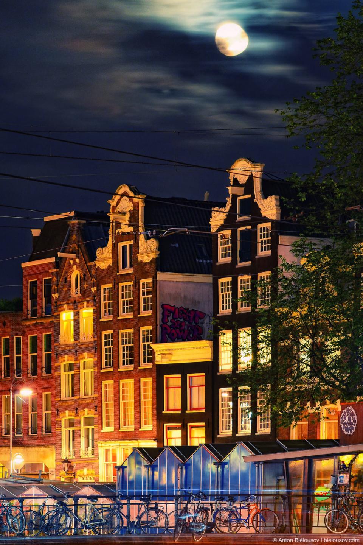Moon Night Amsterdam Houses