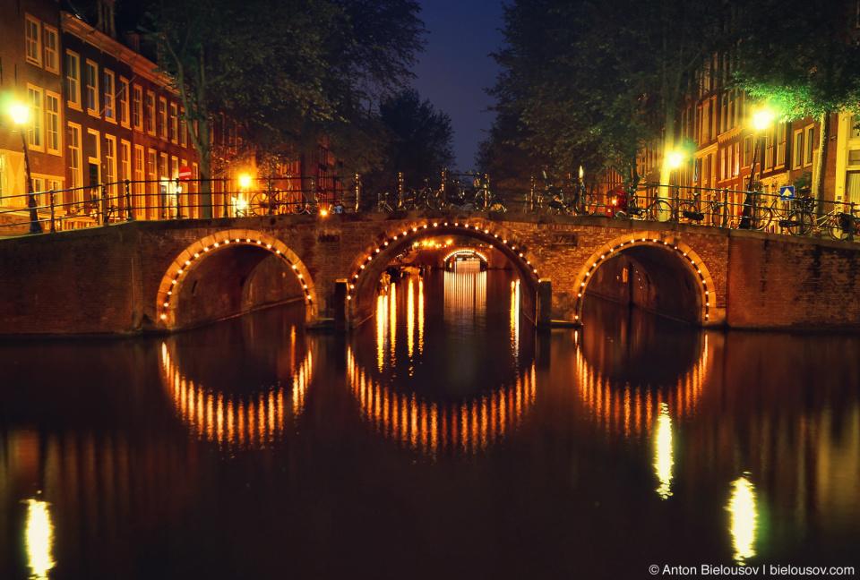 Amsterdam Channel Bridge at Night