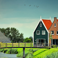 Old Houses and Mill in Volendam, Netherlands