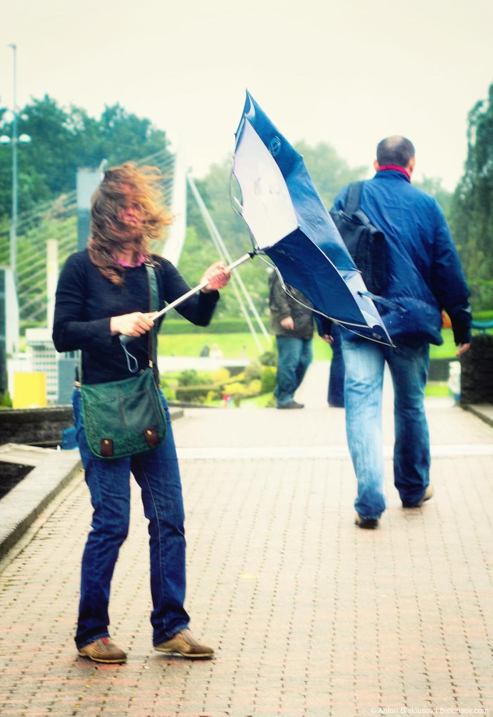 Штормовой ветер выворачивает зонты наизнанку в Гааге