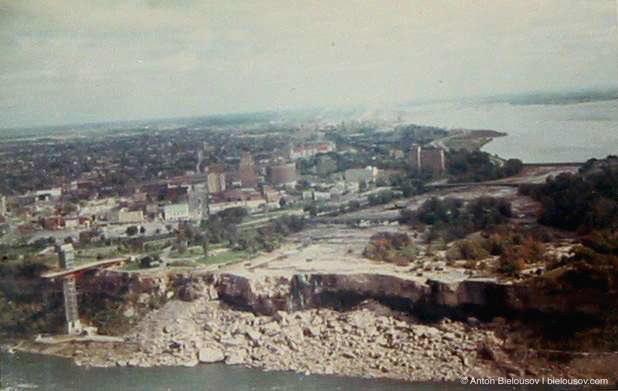 Ниагарский водопад, осушенный США в 1969 году для уборки камней