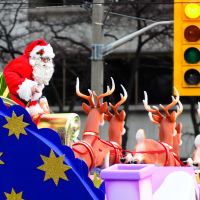Santa Claus on Red Light at Toronto Santa Claus Parade