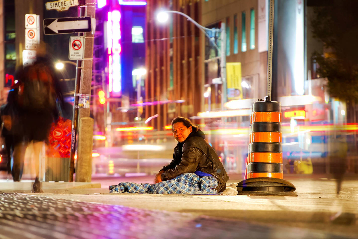 Toronto Homeless Native American Guy. Long Exposure on Wellington St.